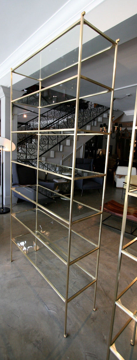 Pair of Tall Custom Brass Etageres with Glass Shelves - Adesso Imports