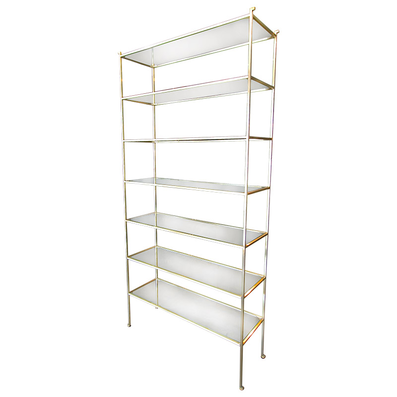 Pair of Tall Custom Brass Étagères with Glass Shelves - Adesso Imports