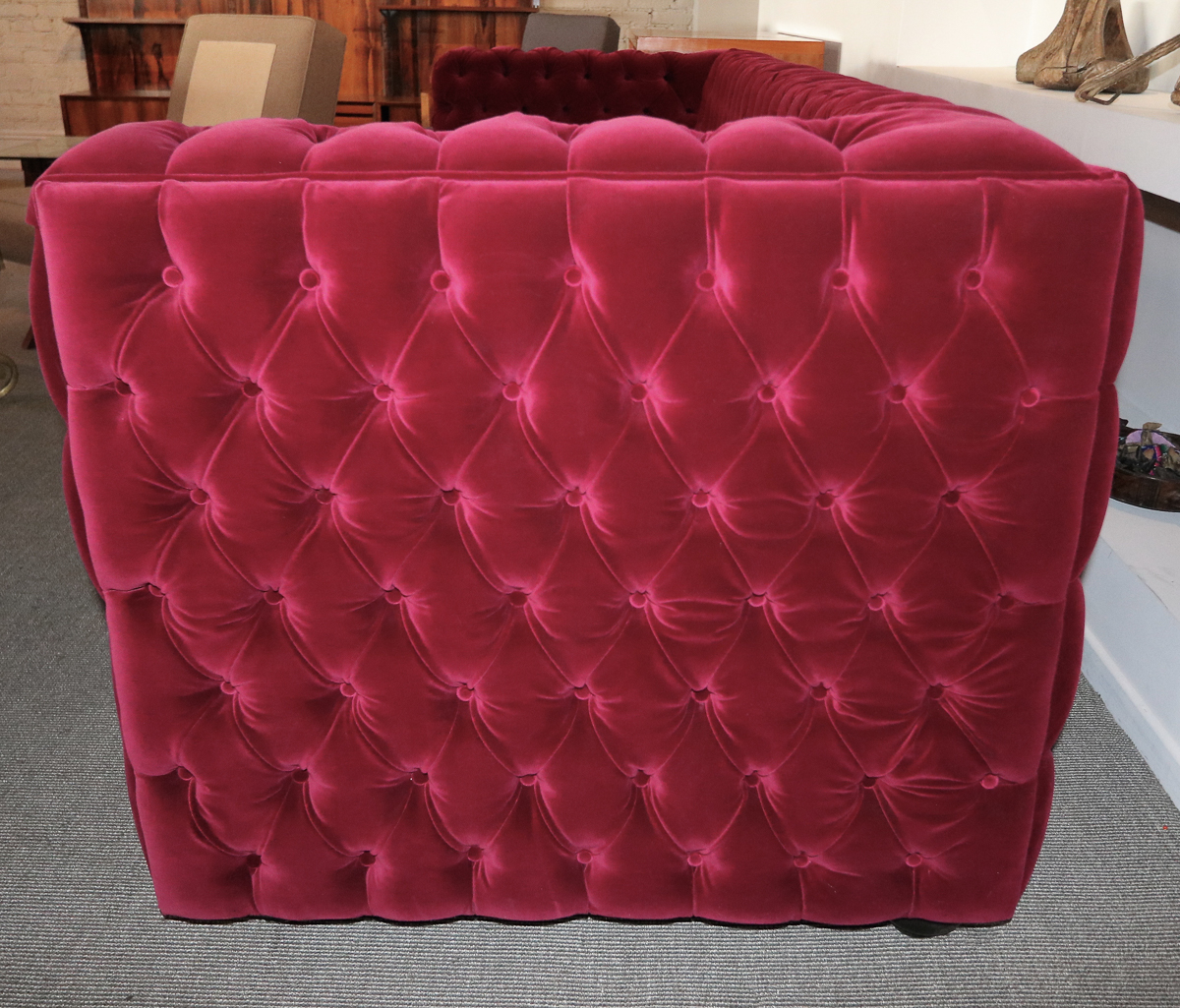 Custom Capitone Tufted Red Velvet Sofa