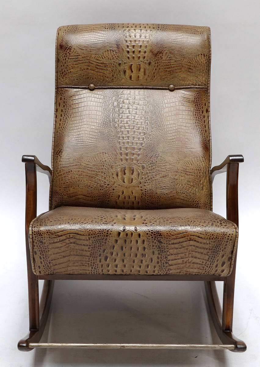 1960s Brazilian Rocking Chair In Crocodile Embossed