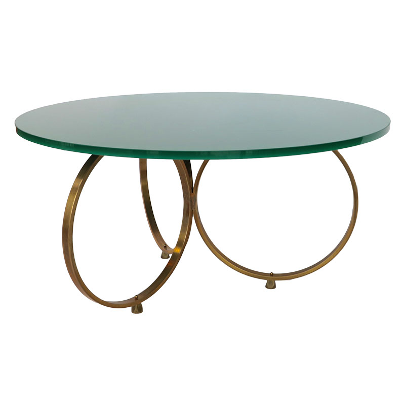 Custom Glass Coffee Table Top: Custom Brass Coffee Table With Reverse Painted Glass Top