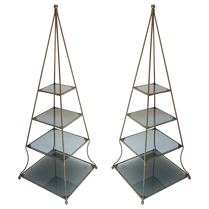 Pair of 1960s Metal Pyramid Etageres with Smoked Glass Shelves ...