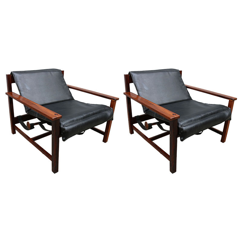 Wondrous Pair Of 1960S Brazilian Jacaranda Reclining Lounge Chairs Short Links Chair Design For Home Short Linksinfo