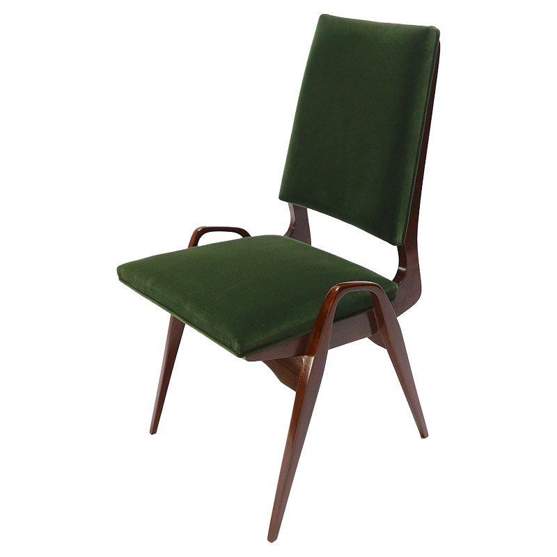 Set Of Custom Gio Ponti Style Dining Chairs In Walnut