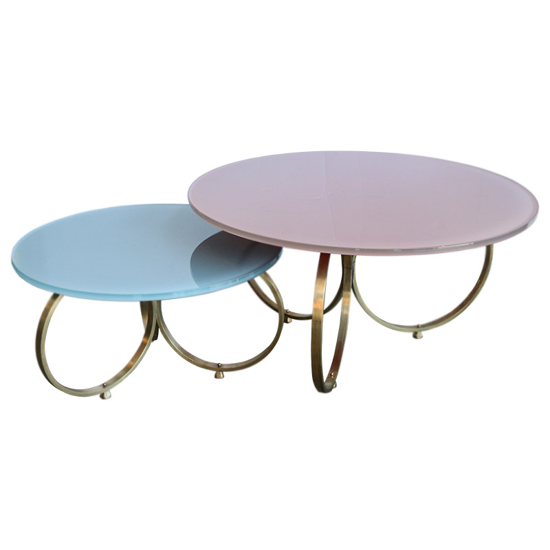 Set Of 2 Custom Brass Coffee Tables With Reverse Painted